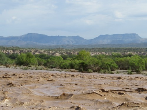 The normally-dry riverbed churning with late-monsoon rains in Sept.