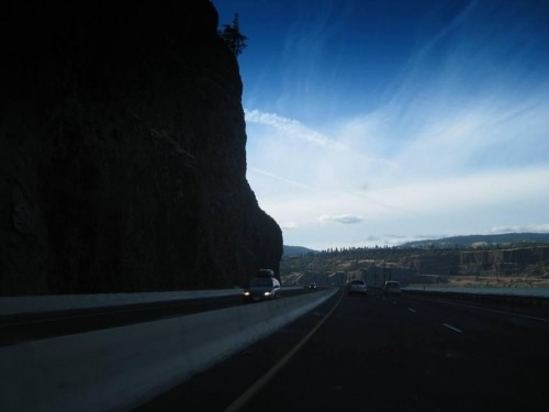 """The Columbia River upstream from Portland, Oregon: """"I'm chasing along the Oregon Trail now, pursuing the ghosts of William Clark and Meriwether Lewis. I wonder what Lewis' mental state was when he knew he was approaching the end of his journey. It's hard to know, because his journal falls silent"""